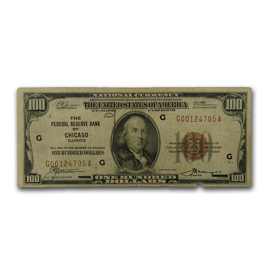 1929 (G-Chicago) $100 FRBN Brown Seal VF