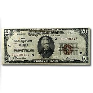 1929 (G-Chicago) $20 Brown Seal FRBN VG