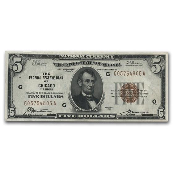 1929 (G-Chicago) $5.00 Brown Seal FRBN CU