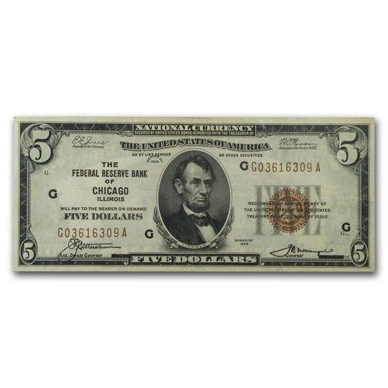 1929 (G-Chicago) $5.00 Brown Seal FRBN VF