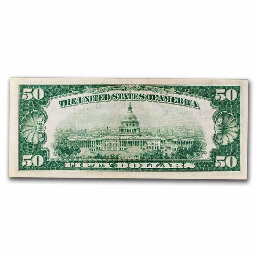 1929 (G-Chicago) $50 Brown Seal FRBN AU (Fr#1880-G)
