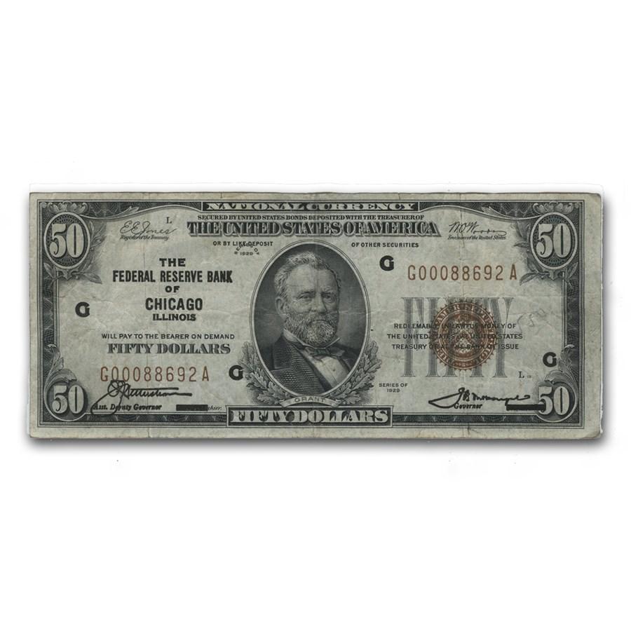 1929 (G-Chicago) $50 Brown Seal FRBN Fine (Fr#1880-G)