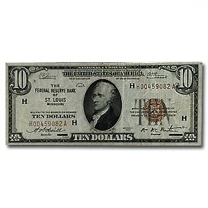 1929 (H-St. Louis) $10 Brown Seal FRBN Fine