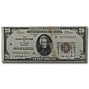 1929 (H-St. Louis) $20 Brown Seal FRBN VF Details