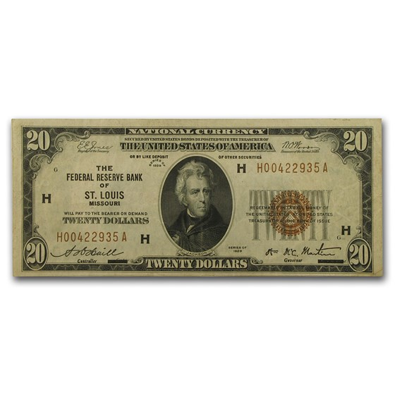 1929 (H-St. Louis) $20 Brown Seal FRBN VF (Fr#1870-H)