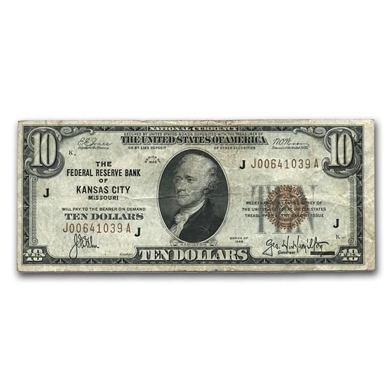 1929 (J-Kansas City) $10 Brown Seal FRBN Fine (Fr#1860-J)