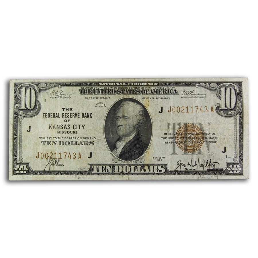 1929 (J-Kansas City) $10 Brown Seal FRBN VF (Fr#1860-J)