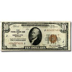 1929 (J-Kansas City) $10 Brown Seal FRBN XF (Fr#1860-J)