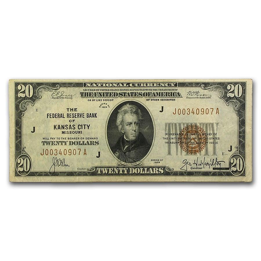 1929 (J-Kansas City) $20 Brown Seal FRBN VF (Fr#1870-J)