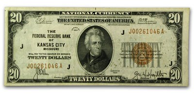 1929 (J-Kansas City) $20 Brown Seal FRBN XF Details