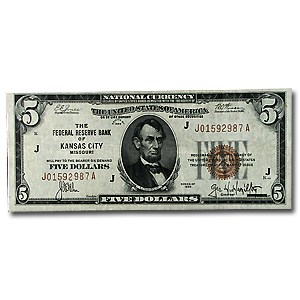 1929 (J-Kansas City) $5.00 Brown Seal FRBN XF