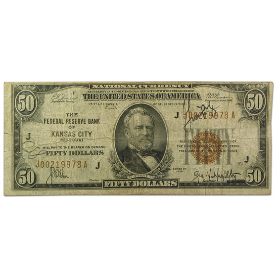 1929 (J-Kansas City) $50 Brown Seal FRBN Fine Details (FR#1880-J)
