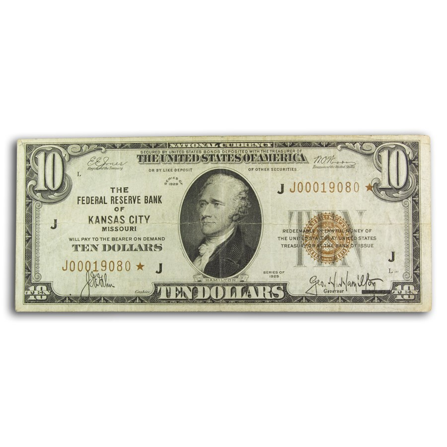 1929* (J-KC) $10 Brown Seal FRBN Ch VF (Fr#1860-J*) Star Note