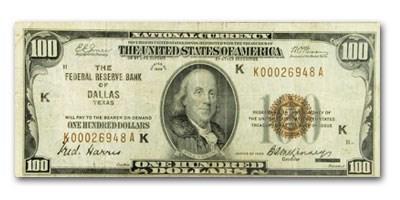 1929 (K-Dallas) $100 FRBN Brown Seal Fine