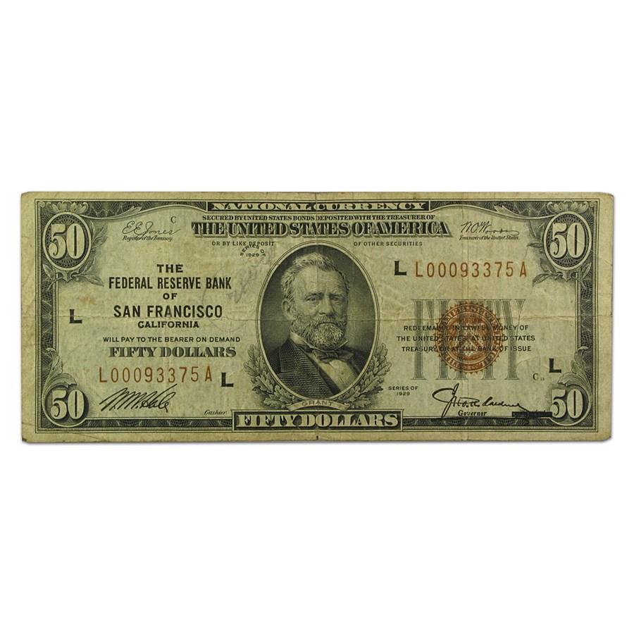 1929 (L-San Francisco) $50 Brown Seal FRBN VF Details
