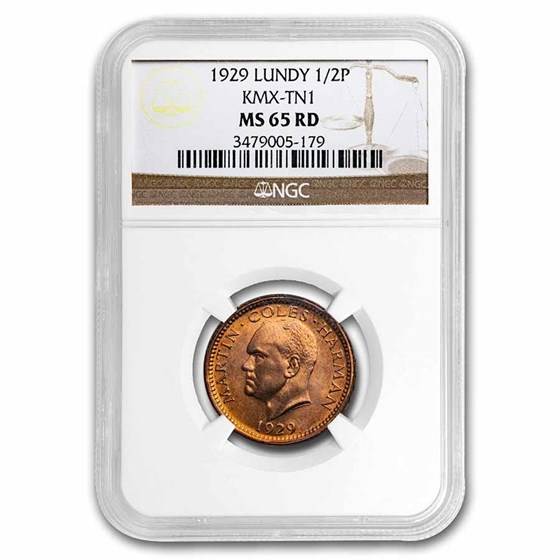 1929 Lundy Bronze Half Puffin MS-65 NGC (Red)