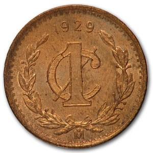 1929 Mexico Centavo Bronze BU Red KM#415