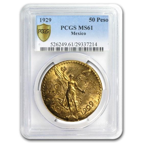 1929 Mexico Gold 50 Pesos MS-61 PCGS