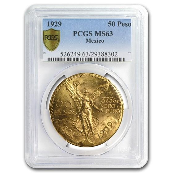 1929 Mexico Gold 50 Pesos MS-63 PCGS