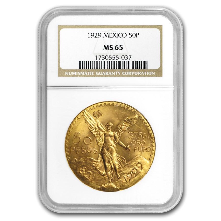 1929 Mexico Gold 50 Pesos MS-65 NGC