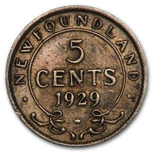 1929 Newfoundland Silver 5 Cents George V XF