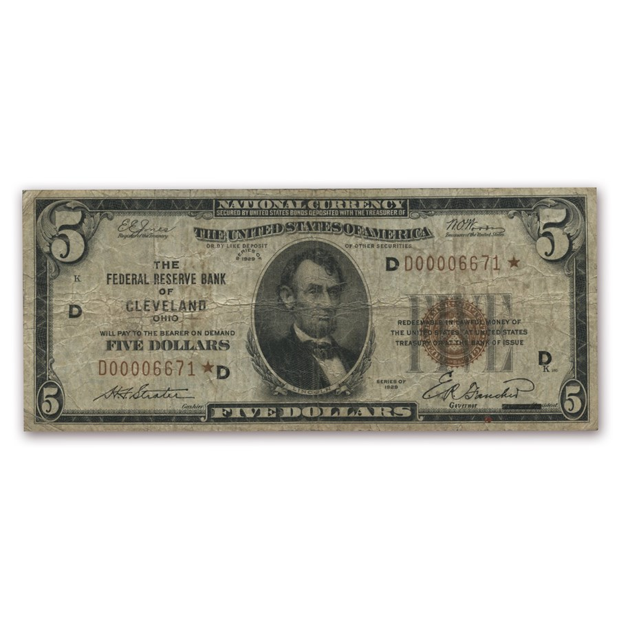 1929* STAR (D-Cleveland) $5.00 Brown Seal FRBN VG