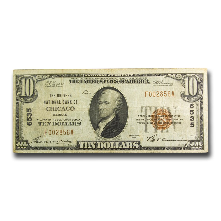 1929 Type 1 $10 Chicago, IL VF (Fr#1800-2) CH#6535