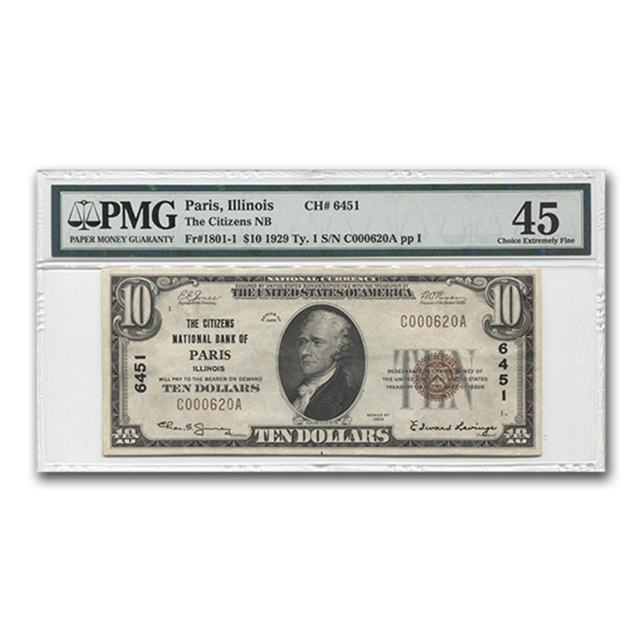 1929 Type 1 $10 Citizens NB of Paris, IL Ch XF-45 PMG (CH# 6451)