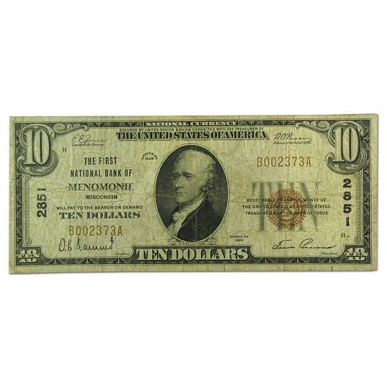 1929 Type 1 $10 Menomonee, WI Fine (CH#2851)