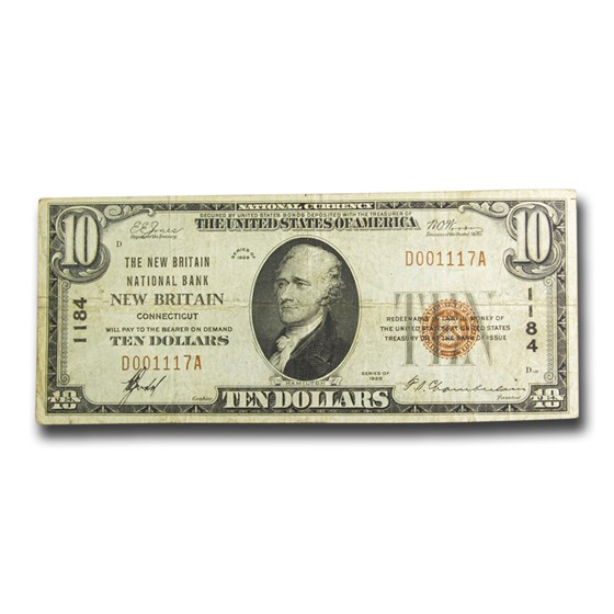 1929 Type 1 $10 New Britain, CT VF (Fr#1800-2) CH#1184