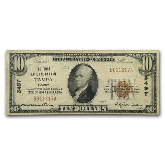 1929 Type 1 $10 Tampa, FL Fine (CH#3497)
