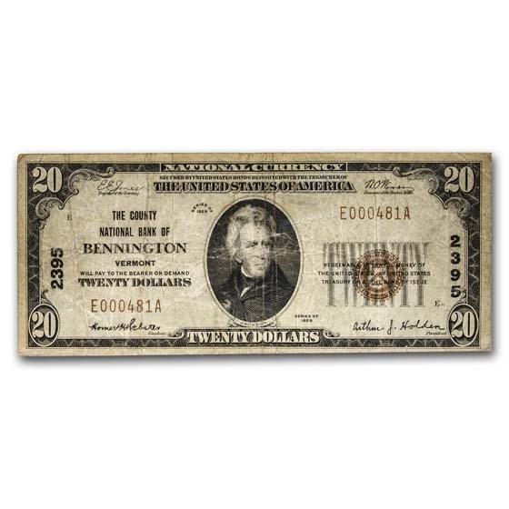 1929 Type 1 $20 Bennington, VT Fine (Fr#TBD) CH#2395