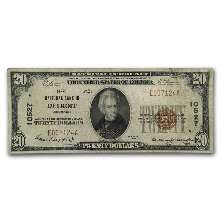 1929 Type 1 $20 Detroit, MI Fine (CH#10527)