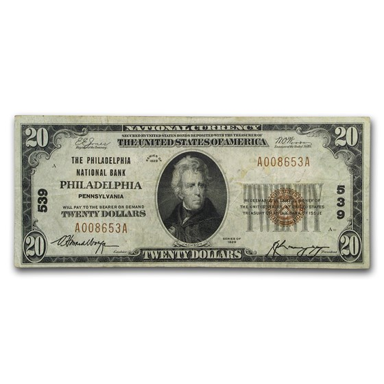 1929 Type 1 $20 Philadelphia, PA Fine (CH#539)
