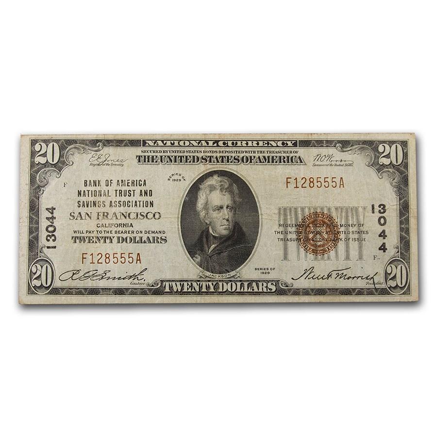1929 Type 1 $20 San Francisco, CA VF (Fr#TBD) CH#13044