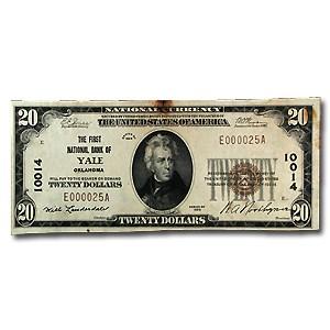 1929 Type 1 $20 Yale, Ok AU (CH#10014)