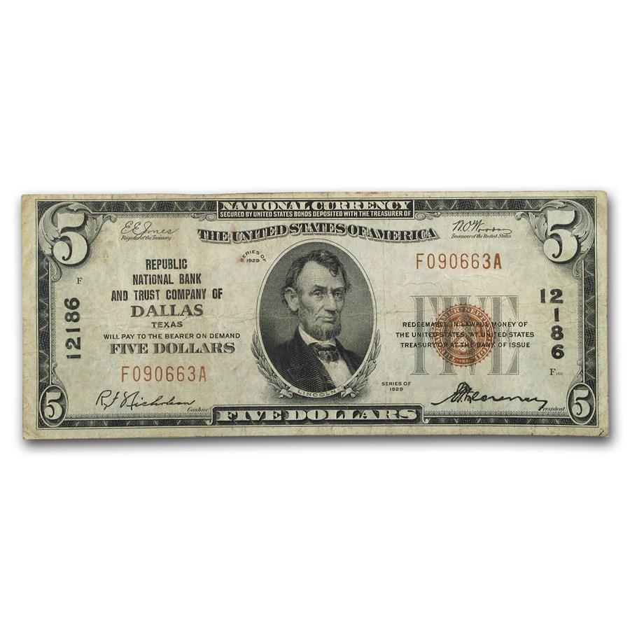 1929 Type 1 $5.00 Dallas, TX Fine (CH#12186)