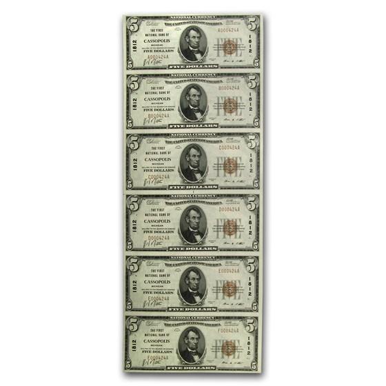 1929 Type 1 $5.00 FNB of Cassopolis, MI (Fr#TBD) CH#1812, 6 Uncut