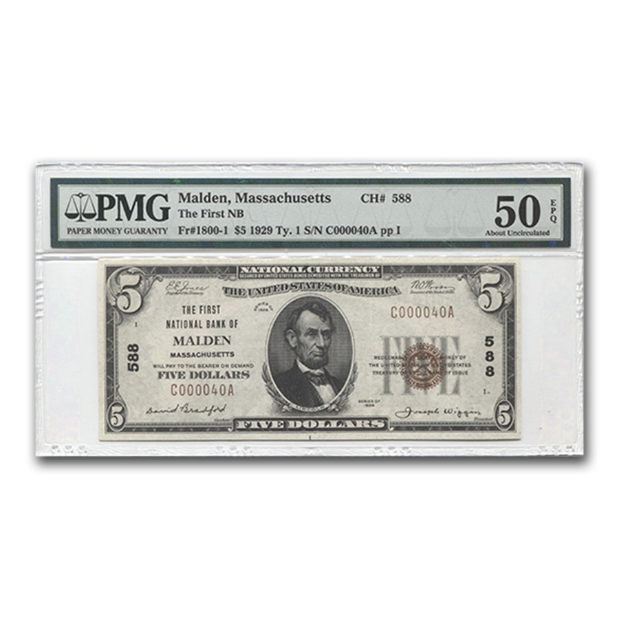 1929 Type 1 $5 FNB of Malden, MA AU-5O EPQ PMG (CH# 588)