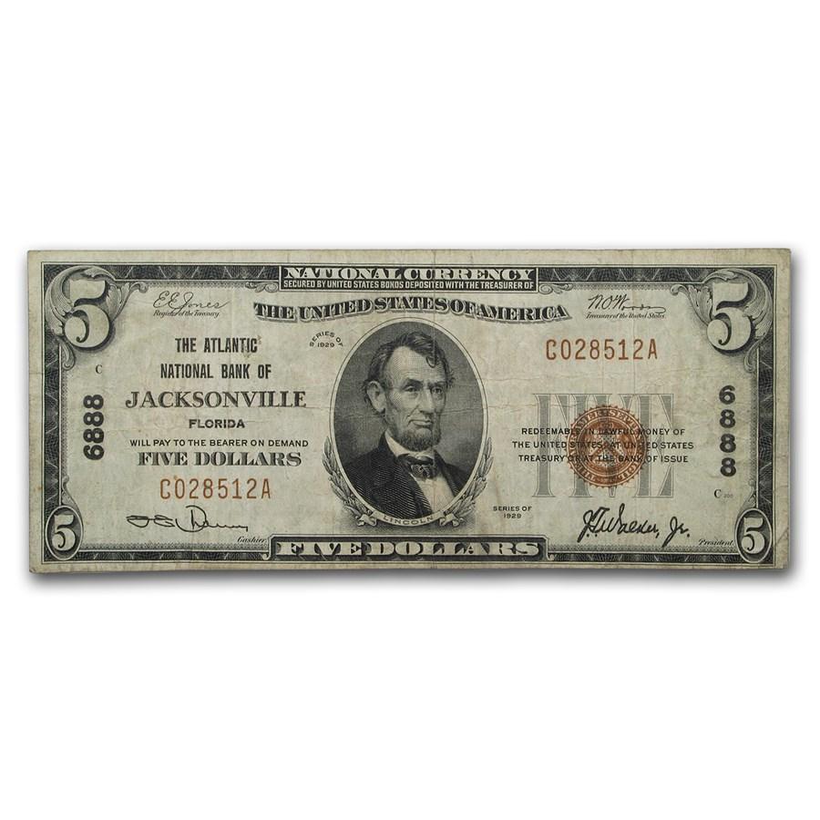 1929 Type 1 $5 Jacksonville, FL Fine (CH#6888)