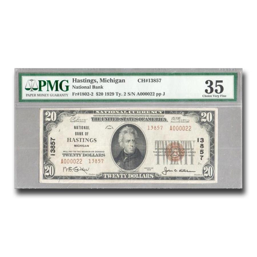 1929 Type 2 $20 Hastings, MI VF-35 PMG (Fr#1802-2) CH#13857