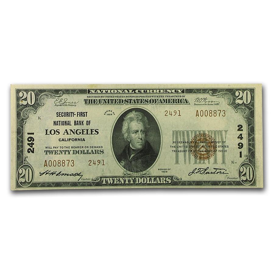 1929 Type 2 $20 Los Angeles, CA AU (CH#2491)