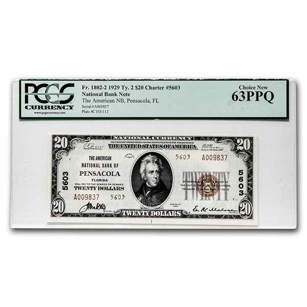 1929 Type 2 $20 Pensacola, FL CH CU-63 PPQ PCGS(Fr#1802-2)CH#1301
