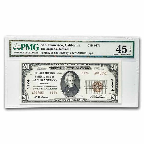 1929 Type 2 $20 San Francisco, CA XF-45 EPQ PMG(Fr#1802-2)CH#9174