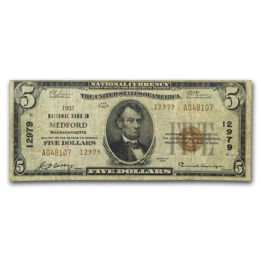 1929 Type 2 $5 Medford, MA Fine (CH#12979)