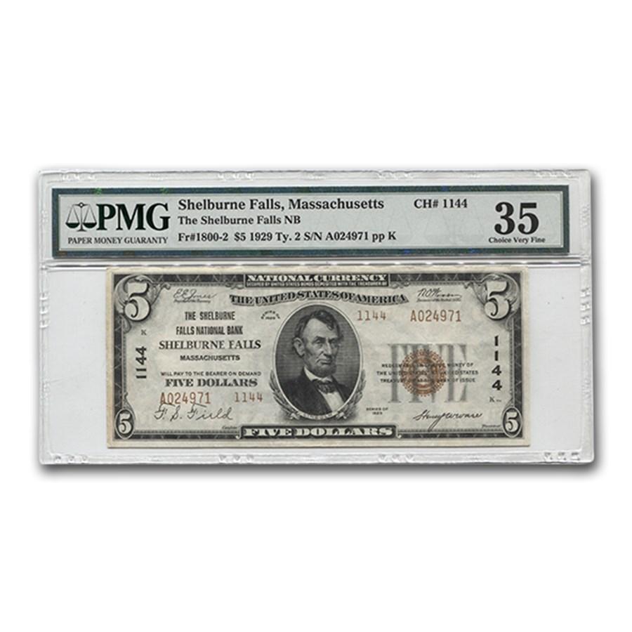 1929 Type 2 $5 Shelburne Falls, MA VF-35 PMG (CH#1144)