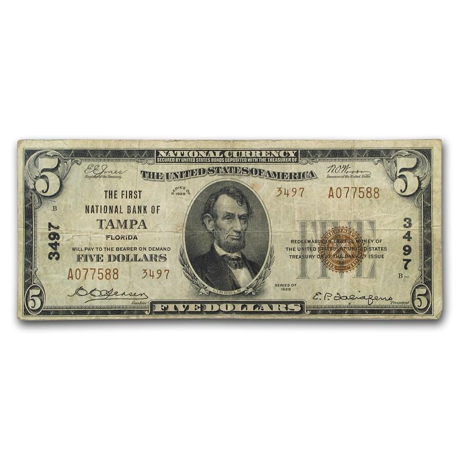 1929 Type 2 $5 Tampa, FL Fine (CH#3497)