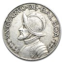 1930-1962 Panama Silver 1/4 Balboa Average Circ