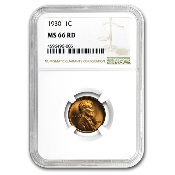 1930 Lincoln Cent MS-66 NGC (Red)