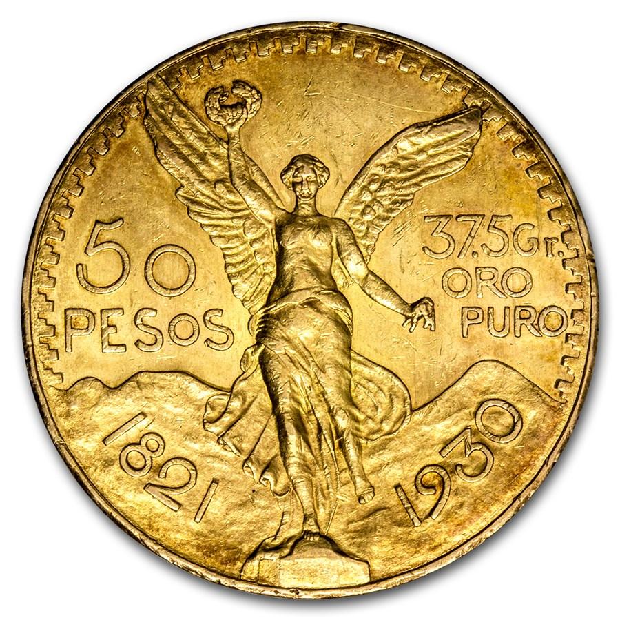 1930 Mexico Gold 50 Pesos AU